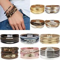 Fashion Multilayer Women Leather Bracelet Magnetic Clasp Wristband Cuff Bangle