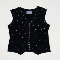 King kong maglia donna top usato borchie strass L oversize maglietta nera T5663