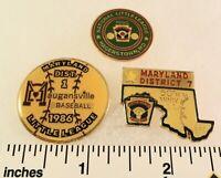 3 Little League Baseball PINs - MD D1 D7 - 50th Ann - 1990 - Maugansville