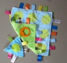TAGGIES BLuE LIME GREEN CIRCLES DoTS BaBy SeCuRiTy SQUeaK TOY & MaTCHiNG BLaNKeT