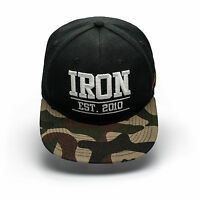 IRON TANKS SNAP BACK CAP HAT - BODYBUILDING, GYM, MENS WOMENS S096 BLACK/CAMO
