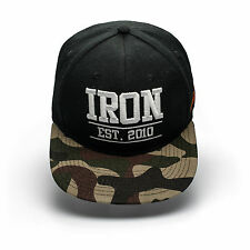 IRON TANKS SNAP BACK CAP HAT - BODYBUILDING, GYM, MENS WOMENS S096 BLACK/CAMO