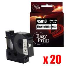 20pk Black On White Label 45013 Compatible Dymo D1 Tape 30m X 7m Labelwriter