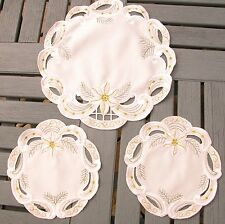 VINTAGE SET OF CHRISTMAS PLACEMATS X 3- MACHINE EMBROIDERY - WHITE POINTSETTA