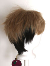 11'' Short Messy Spiky Almond and Chocolate Brown Synthetic Cosplay Jean Wig NEW