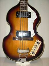 New 4 String Violin Shape Electric Beatle Bass Guitar Sunburst Right Hand