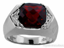 Mens Genuine Garnet & Diamond Ring Sterling Silver