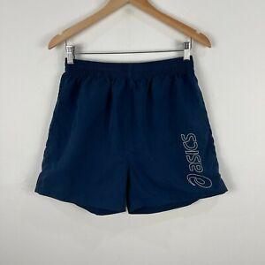 Asics Mens Shorts Small Blue Drawstring Elastic Waist