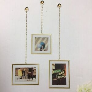 Pottery Barn Square Brass Chain Frame SET of THREE  Glass front  NEW