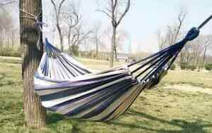 Blue and White Striped Hammock in a Bag with Heavy Duty S Hooks and Rope Ties