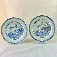 ANTIQUE FURNIVALS SET 2 QUAIL PLATES SERVING WALL DECOR BLUE ENGLAND RdNo 684771