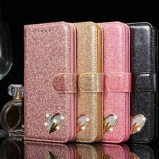 Fashion Shiny Glitter with Heart Diamond Wallet with stand Case For Apple iphone