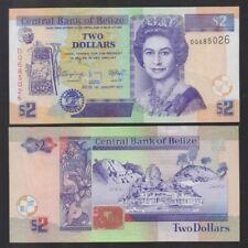 BELIZE: P#66 1 x 2 Belize Dollar Uncirculated Banknote 01.01.2017.