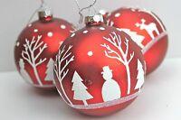 Gisela Graham Weihnachten Matte rot weiß Glitzer Rentier Glas Spielerei x 3