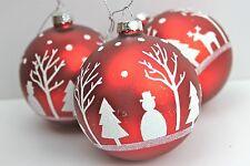 Gisela Graham Navidad Mate Rojo Blanco con Purpurina Reno Cristal Bola x 3