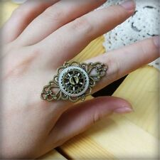 1pc Vintage Lady Steampunk Gear Floral Ring Punk Gothic Unisex Adjustable Ring