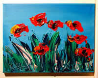 Original Painting RED POPPIES  STRETCHED   signed CANVAS COA IMPRESSIONIST