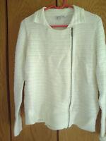 coldwater Creek Women's Ivory Full Zip Long sleeve Sweater Sz M