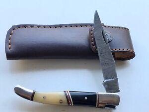 Handmade French Laguiole Damascus Steel Pocket Knife With Bufflao & Camel Bone