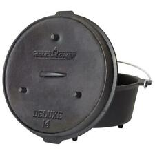 Camp Chef Deluxe Preseasoned Cast Iron 14 in. Dutch Oven Outdoor Camping Cooking