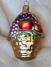 "1995 #9544 Patricia Breen Fruit Basket Blown Glass Christmas Ornament 4.75"""