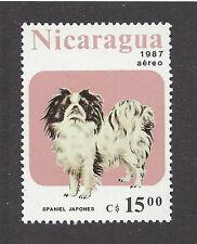 Dog Art Full Body Portrait Postage Stamp JAPANESE CHIN SPANIEL Nicaragua '87 MNH