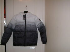 HYPE UNISEX BLACK/WHITE HOODED SPECKLE FADE PUFFER JACKET AGE 13 YEARS