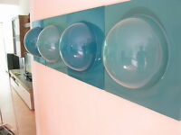 4 Bubble Elemente 70er 60er Style Bild 1 gelb 1 weiß 1 hellblau 1 braun  Nr 19