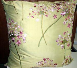 "Decorative Pillow Handcrafted 100% Silk Green Floral Pillow 24"" x 24"""