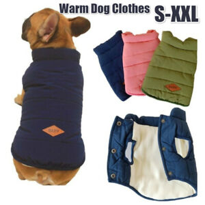 Puppy Pet Dog Clothes Winter Coat Fleece Warm Jacket Vest Bulldog Padded Outfit