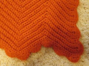 Vintage Crochet Afghan Throw Blanket - Twin- Burnt Orange Chevron Zig Zag 66x94