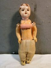 """Antique 14-1/2"""" Doll With Hand Painted Paper Mache Open Mouth Head & Joint Body"""