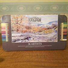 Derwent 36 count color pencils from early 2000s. Gently used.
