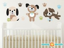 Puppy Dogs Fabric Wall Decals, Set of Three Adorable Puppies with Paw Prints