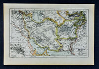 c 1885 Hartleben Map - Persia Iran Afghanistan Iraq Bagdad Teheran Kabul Russia