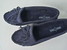 Minnetonka navy blue suede slip on shoes, size 7.5