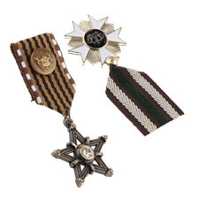 Dangle Medal Uniform Brooch Charms 2pcs Gothic Fabric Crown Star Charms
