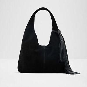 Rachel Zoe Mitchell Hobo Tassled Handbag & Pouch, Black Suede NEW