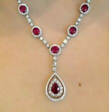 20.10 CT 925 Silver Pear Cut Ruby & Diamond Tennis Necklaces 14K White Gold Over