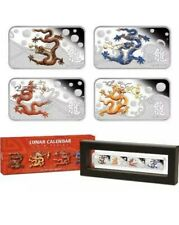 Cook Islands 2012 Lunar Dragon Coloured Rectangle 4pc Silver Proof  coin Set