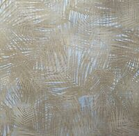 Floral Tropical Palm Leave wicker bamboo gold Silver metallic textured Wallpaper
