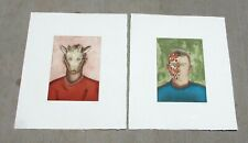 ROBERTO GIL de MONTES Listd Latin American Surrealist Pair of S/N Color Etchings