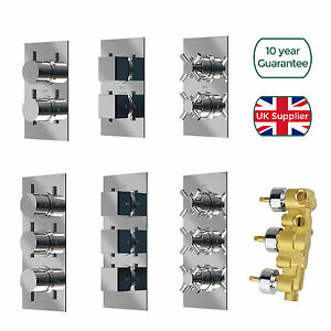 Concealed Thermostatic Shower Mixer Valve 1 / 2 / 3 Way Outlet Chrome Brass
