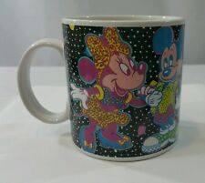 Vintage Retro Mickey Minnie Mouse And Pals Coffee Mug Cup Applause Black Neon