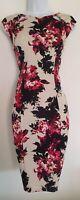 Womens Wallis Black Pink Floral Cut Out Detail Stretch Wiggle Bodycon Dress 12P.