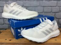 ADIDAS MENS UK 8 EU 42  WHITE GREY PURE BOOST KNIT TRAINERS RRP £119 LG
