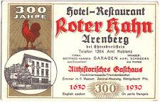 """Werbekarte, Arenberg b. Ehrenbreitstein, 300 Jahre Hotel """"Roter Hahn"""", 1930"""