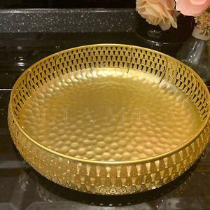 28cm Round Hammered Metal Gold Tray Fruit Bowl Wedding Table Decor Potpourri