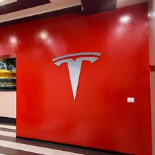 Tesla Sign Garage Brushed Silver Aluminum Gift Logo 1.95 feet tall