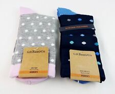 Polka dot socks two pairs navy blue gray pink rayon from bamboo Bass